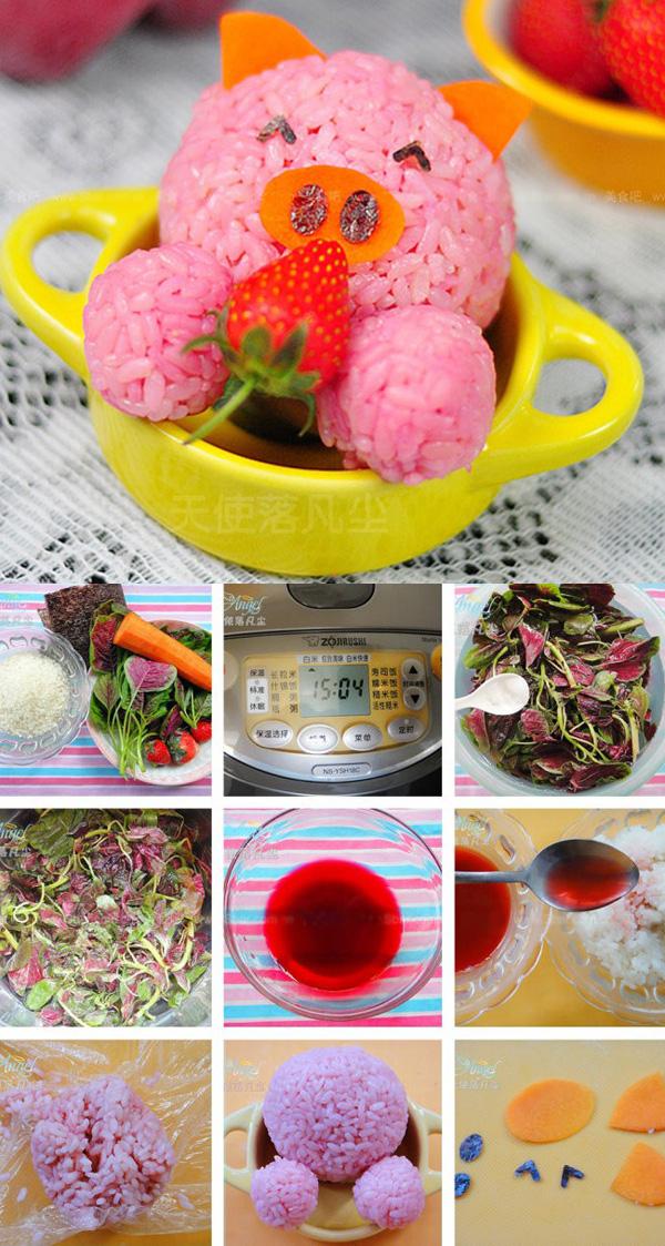 Cách làm cơm bento màu hồng dễ thương cho bé