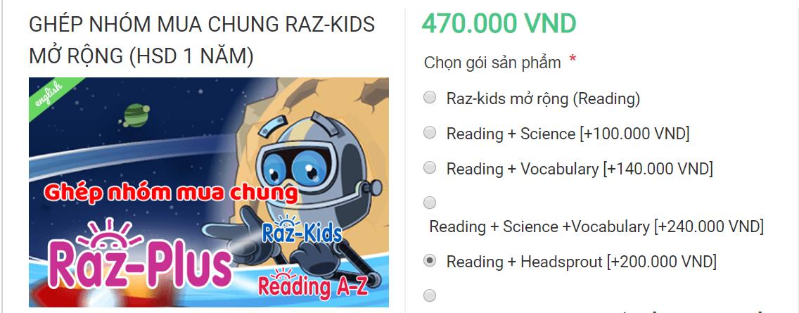 Giá Raz-Kids Reading + Headsprout