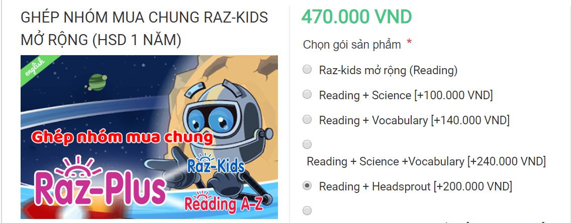 Giá Raz-Kids Reading + Headsprout