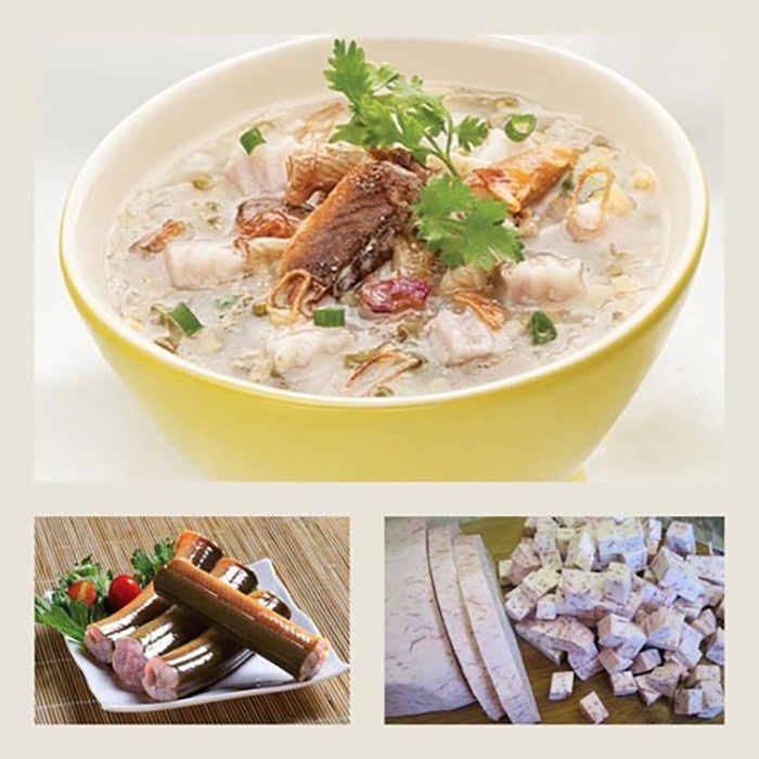 Cháo lươn nấu với khoai môn và cà rốt cho bé