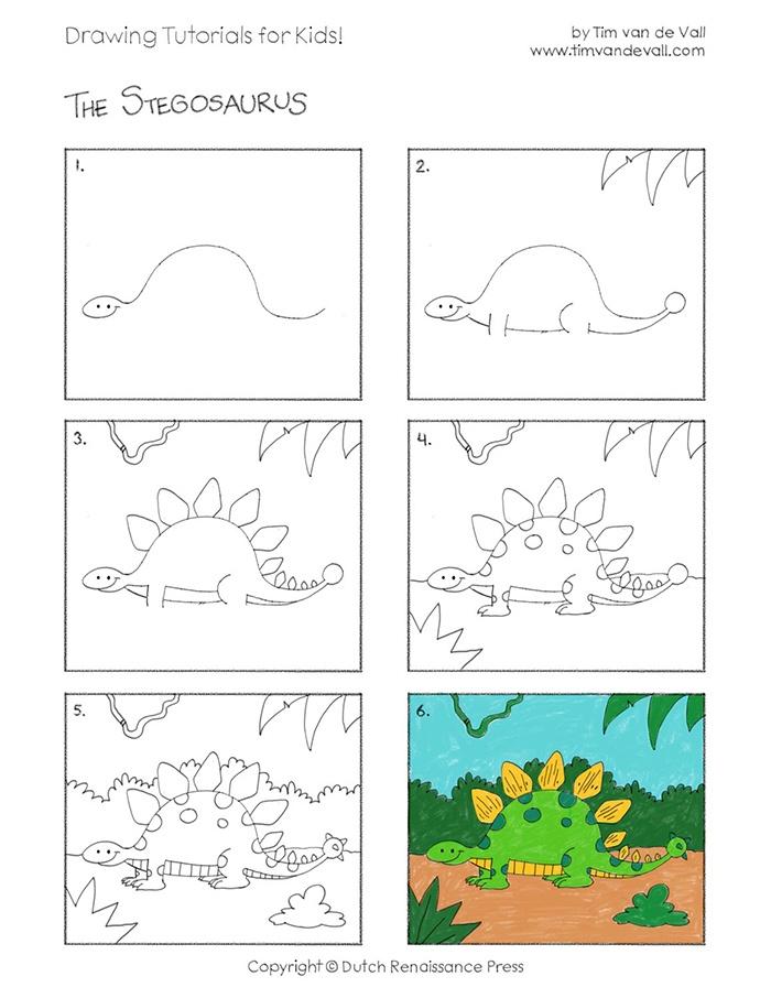 Hướng dẫn bé vẽ khủng long