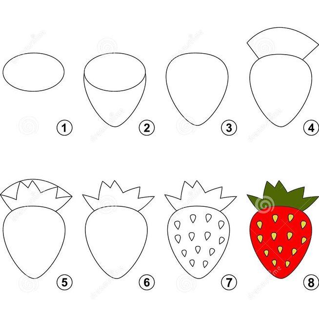 Bé vẽ quả dâu tây