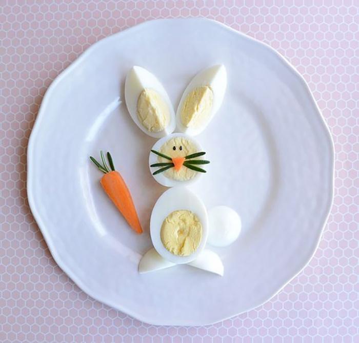 Chú thỏ đáng yêu từ trứng gà và cà rốt