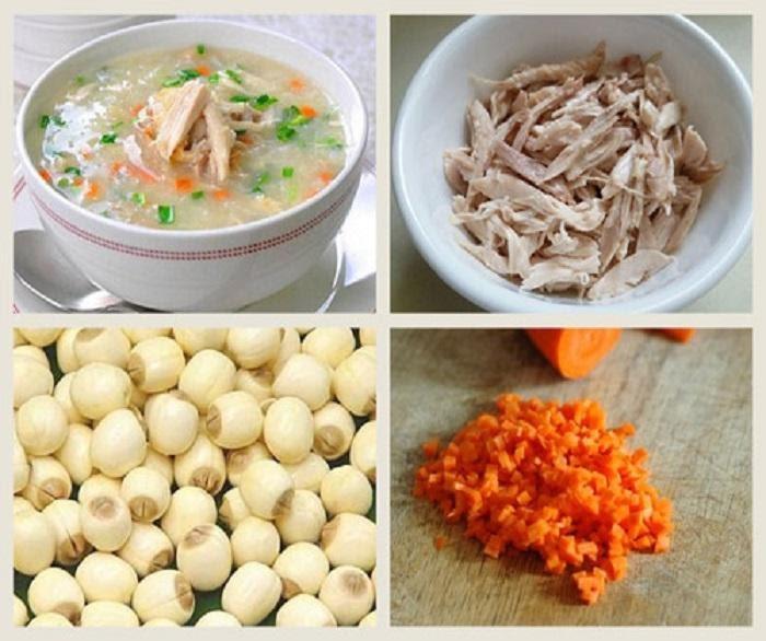 Cách nấu cháo thịt gà cho bé nấu với hạt sen, đậu xanh và cà rốt