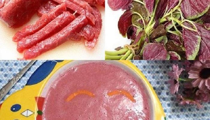 Cách nấu cháo thịt bò với rau dền đỏ