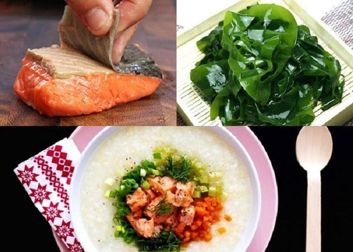 Cách nấu cháo cá hồi rong biển, đậu hủ non