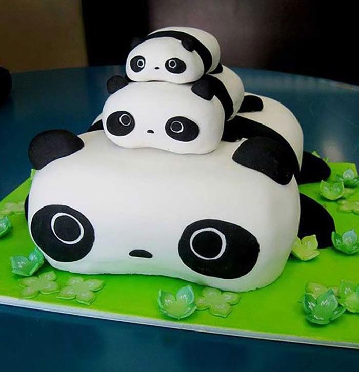 bánh kem cho bé gái hình gấu trúc panda
