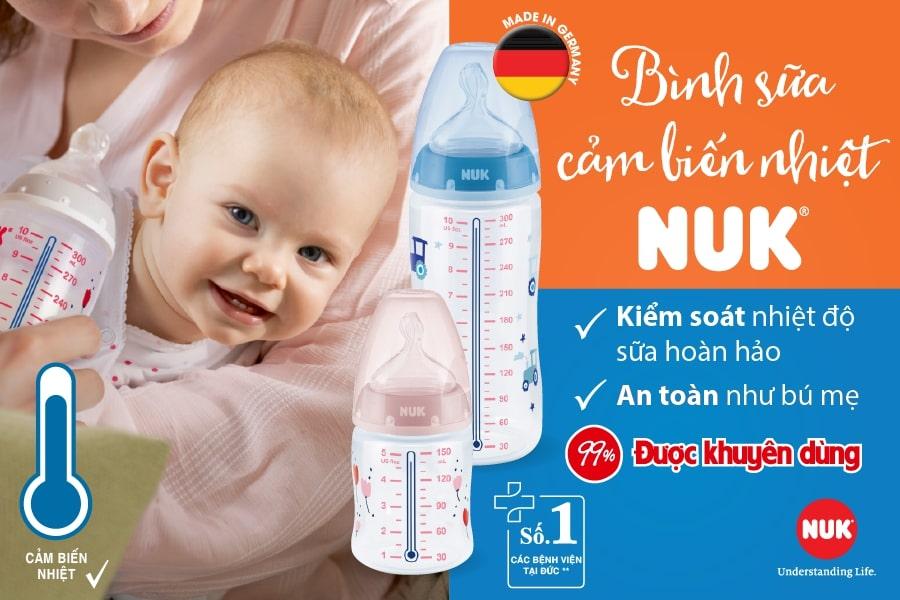 bình sữa cảm biến nhiệt NUK cho trẻ